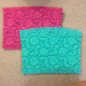 FOREVER 21 - Teal and Hot Pink Lace Bandeau Set